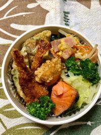 海老フライ&焼鮭★(^^♪・・・・・息子弁当 - 日だまりカフェ