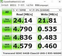 Transcend SDXC 64GB Class10 UHS-I R95-W60MB/sスピードテスト - 「 ボ ♪ ボ ♪ 僕らは釣れない中年団 ♪ 」