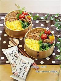 2色そぼろ弁当と茅乃舎のお味噌汁♪ - ☆Happy time☆