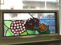 紫陽花のパネル - Glass in