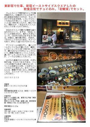 東新宿で仕事、新宿イーストサイドスクエアしたの飲食店街でチョイのみ。「若鯱家」でセット。