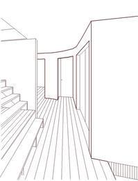 アールの垂れ壁玄関ホールからの眺め - kukka  kukka