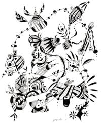 織月紅希の新作ペン画・真理~めざめ - 織月紅希の真っ赤なアートギャラリー