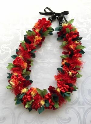Red Ginger & Lehua Lei レッドジンジャー &レフア レイ - ハワイでリボンレイ&製作スクール  Ribbon lei Happy na Mainichi!