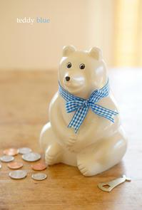 Polar Bear bank  シロクマの貯金箱 - teddy blue