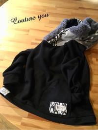 変わりフードのトレーナー、ブラックバージョン - couture日より