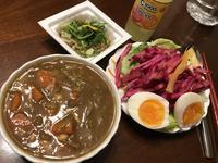 晩ごはんは カレーとサラダ そして納豆 ♪ - よく飲むオバチャン☆本日のメニュー