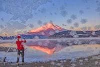 凍りつく窓から富士山 - 山麓風景と編み物