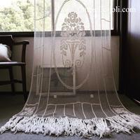 フランスアンティーク薔薇柄ハンドワークフィレレースカーテン - Antique C'Joli