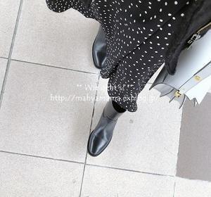 ◆コーデ◆ GU ドットスカート × Saint Laurent  ブーツ × Marni トランク - Wie geht's?