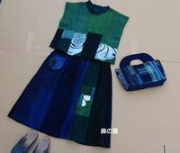 藍接ぎ合わせギャザースカート - 古布や麻の葉