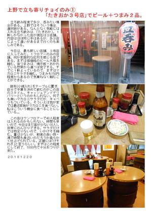 上野で立ち寄りチョイのみ➀ 「たきおか3号店」でビール+つまみ2品。