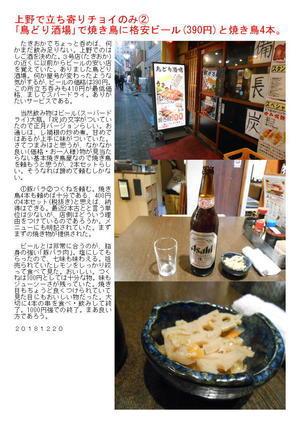 上野で立ち寄りチョイのみ② 「鳥どり酒場」で焼き鳥に格安ビール(390円)と焼き鳥4本。