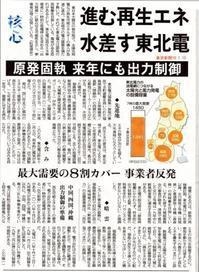 進む再生エネ水差す東北電原発固執来年にも出力制御/東京新聞 - 瀬戸の風