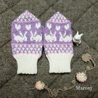 ラベンダー色うさぎミトン - ミトン☆愛犬 編みぐるみ Maronyのアトリエ