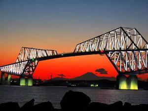 東京ゲートブリッジの夕映え(1月20日寫壇太陽撮影会) -