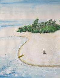 【水彩画】a couple in paradise - ジェンマとおっちゃんの日記2