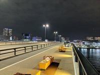 夜、豊洲大橋から - 絵を描きながら