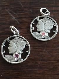 アメリカ10セント銀貨ペンダントマーキュリー天然石入り - 銀工房ウォリアーズ  シルバーアクセサリー熊本