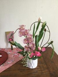 1月のフラワーアレンジレッスン - coco diary 山口県 お花と絵と楽しいティータイム