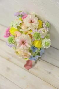 1月16日一会生花レッスンパステルミックスブーケ次回2月は球根の花三昧です - 一会 ウエディングの花