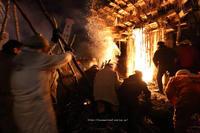 野沢温泉村道祖神祭り1/15燃え落ちて - 野沢温泉とその周辺いろいろ2