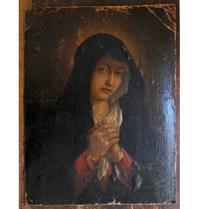 青いローブの悲しみの聖母マリア /F987 - Glicinia 古道具店