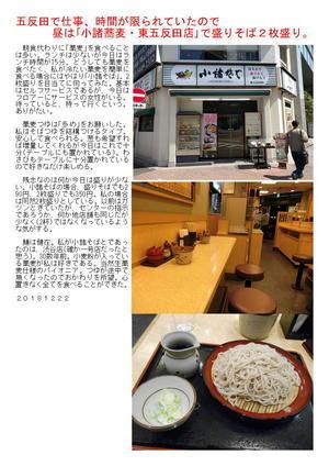 五反田で仕事、昼は時間が無く「小諸蕎麦」で盛りそば2枚盛り。