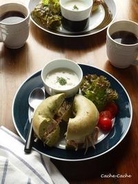 チキンと牛蒡サラダのベーグルサンドでワンプレート♪ - Cache-Cache+