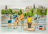 フランスの旅:サン・ルイ橋 - オヤジの水彩画集