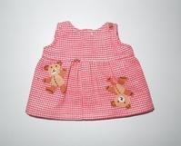 395.メルちゃん赤白チェックワンピース - フリルの子供服