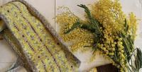 この黄色の毛糸も「ミモザ」にちなんで同じお名前だそう! - Bouquets_ryoko