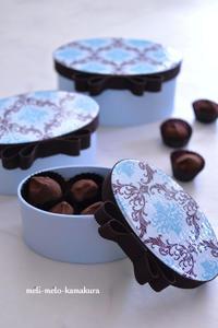 ◆デコパージュ*オーダーいただきました♡バレンタイン用の3段box - フランス雑貨とデコパージュ&ギフトラッピング教室 『meli-melo鎌倉』
