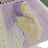 紫色の天使を描き始めました - デザインのアトリエ絵くぼ