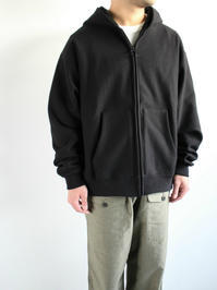 unfilcotton-terry zip up hoodie / black - 『Bumpkins putting on airs』