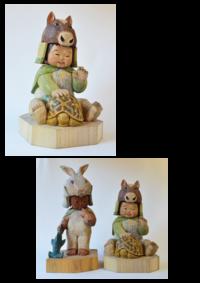 稜太郎くんと午と亀 -  彫刻屋 近正