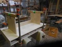 デスクの脚組立。 - 手作り家具工房の記録