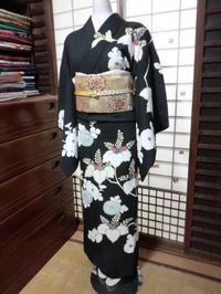 黒地に白の柄、カッコイイ訪問着です。 - 京都嵐山 着物レンタル&着付け「遊月」