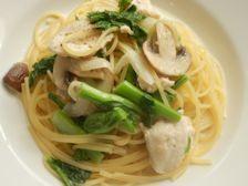 2/10本日パスタ:鶏胸肉と菜花の和風クリーム・スパゲティ -