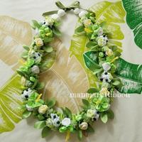 ホワイト×グリーン ブーケレイ - manmaru Ribbon ~ Pili aloha Lei Making ~