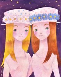 双子の女の子☆色違いのデイジーの帽子 - ギャラリー I