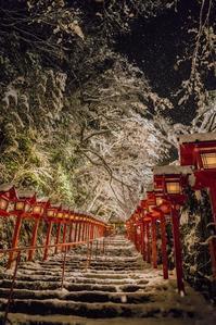 貴船神社~雪のライトアップ - 鏡花水月