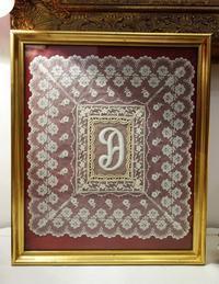モノグラム刺繍の木製金彩額865、866Hold(Sueyo2.12) - スペイン・バルセロナ・アンティーク gyu's shop