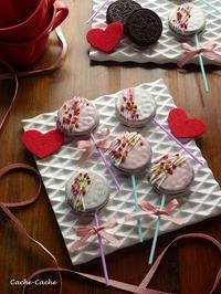 苺とホワイトチョコのオレオポップ♪ - Cache-Cache+