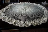 ベージュ手編み円形テーブルクロス274 - スペイン・バルセロナ・アンティーク gyu's shop