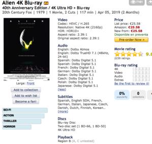 日々雑感 2月16日 スペイン盤「エイリアン」4K UHDにも日本語収録予定+UHD事業って… - Suzuki-Riの道楽