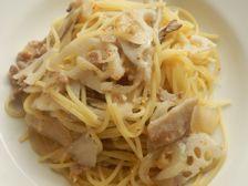 2/16本日パスタ:豚肉と舞茸・レンコンの和風スパゲティ -