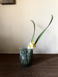 谷さんの緑釉鶏冠壷に水仙 - g's style day by day ー京都嵐山から、季節を楽しむ日々をお届けしますー
