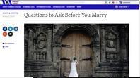 結婚する前に尋ねたいこと・・Questions to Ask Before You Marry. - 阿野裕行 Official Blog
