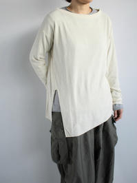 unfil raw silk ribbed-jersey long-sleeve Tee / natural - 『Bumpkins putting on airs』
